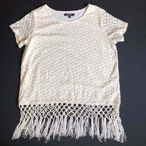 3/$50 Earl   Mesh and Lace Style Blouse w/ Tassels